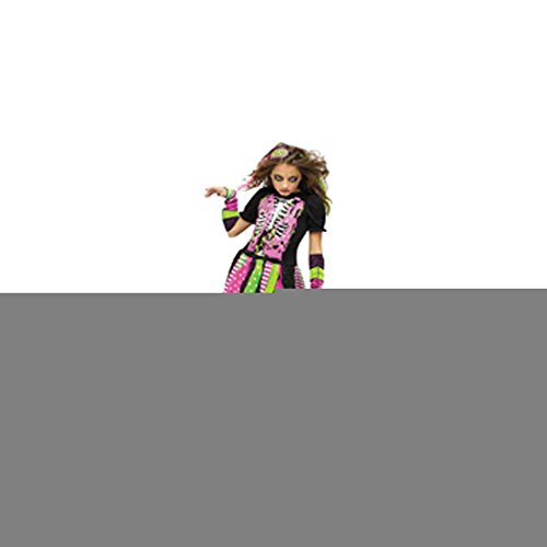 Fun World Big Girl's Medium/neon Zombie Chld Cstm Childrens Costume, multi/color, Medium (8-10)]()