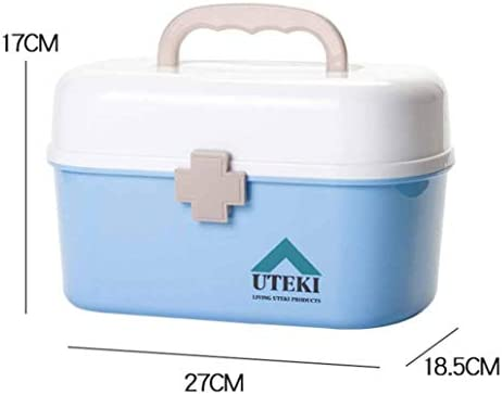 救急箱 家庭用薬箱 収納箱 ツールボックス 応急ボックス 薬入れ 多機能収納ケース ツールボックス 小物入れ 携帯 取っ手付き 仕切り コンパクトサイズ 21*16*15.5cm 27*18.5*17cm グレー ブルー