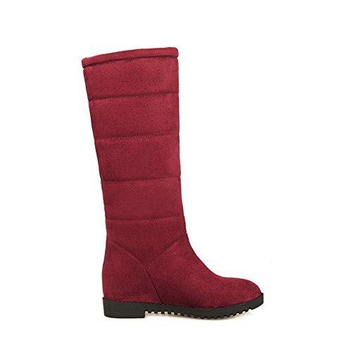 VogueZone009 Damen Mittler Absatz Hoch-Spitze Eingelegt Ziehen auf Stiefel, Rot, 33