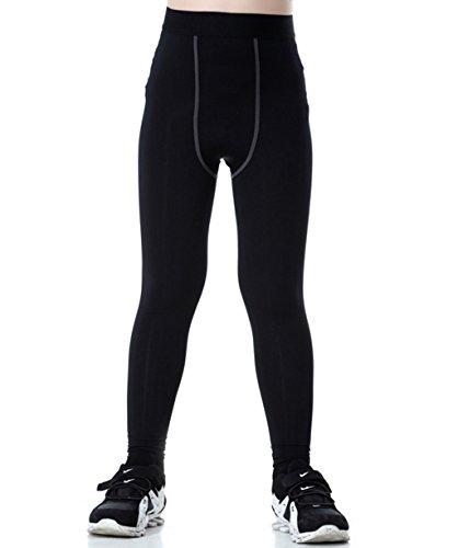 Lanbaosi Boys & Girls Sports Thermal Compression Base Layer Legging/Tights, Black, 12 (Compression Pants For Kids)