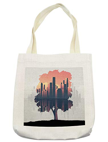 Lunarable Urban Tote Bag, Double Exposure City Skyscrapers and Tree on the Grass Hill Graphic, Cloth Linen Reusable Bag for Shopping Books Beach and More, 16.5