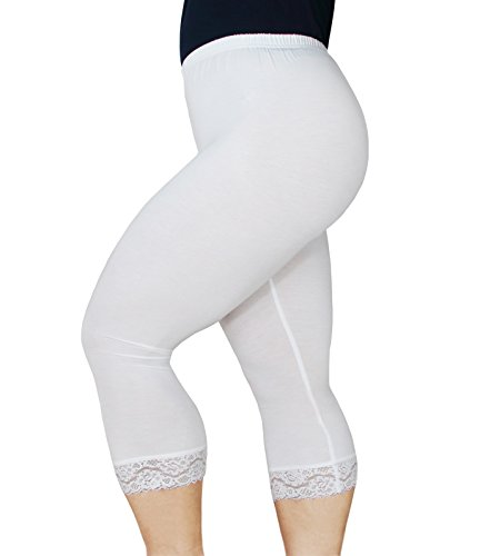 1b37dbd9614 Zerdocean Women s Plus Size Modal Capri Leggings Hem Lace Trim White 1X -  Buy Online in Oman.