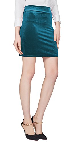Urban CoCo Women's Elastic Waist Stretch Velvet Bodycon Pencil Skirt (S, Dark Blue-Mini)