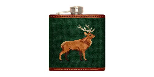 Smathers & Branson Stag Needlepoint Flask (Flask-84) - Needlepoint Flask