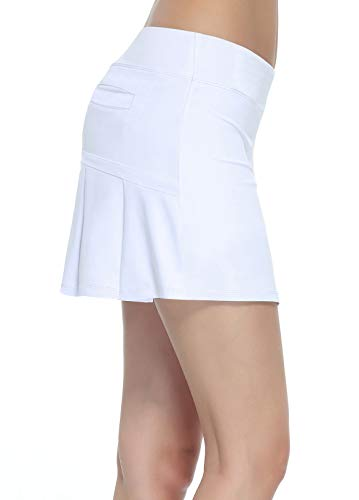 Women's Workout Active Skorts Sports Tennis Golf Skirt Built-in Shorts Casual Workout Clothes Athletic Yoga Apparel White