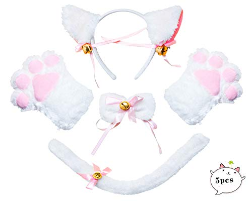 Beelittle Cat Cosplay Costume Kitten Ears Tail Collar Paws Cat Cosplay Collection 5 Pack (White) ()