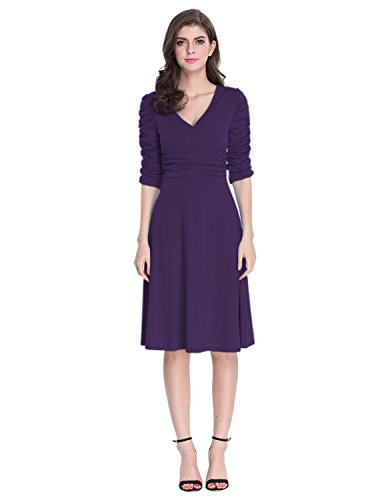 Sue&Joe Women's 3/4 Sleeve Dress Ruched Waist Classy V-Neck Casual Cocktail Dress, Purple, (Ruched Empire Cocktail)
