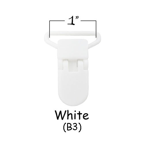 """10 White (B3) KAM 1"""" Plastic Pacifier Clips / Suspender Clips with Gripping Teeth for Binky/Paci/Pacifier/Dummy/Bib/Toy"""