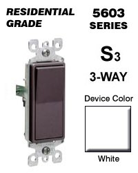 leviton 5603 2w rocker switch decora 3 way 15 amp 120 277 vac grounding residential grade