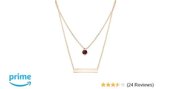 964d7c6cc9fa58 Amazon.com: PAVOI 14K Rose Gold Plated Swarovski Crystal Birthstone Bar  Necklace Pendant Engraveable January: Jewelry