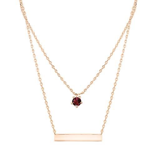 PAVOI 14K Rose Gold Plated Swarovski Crystal Birthstone Bar Necklace Pendant Engraveable January