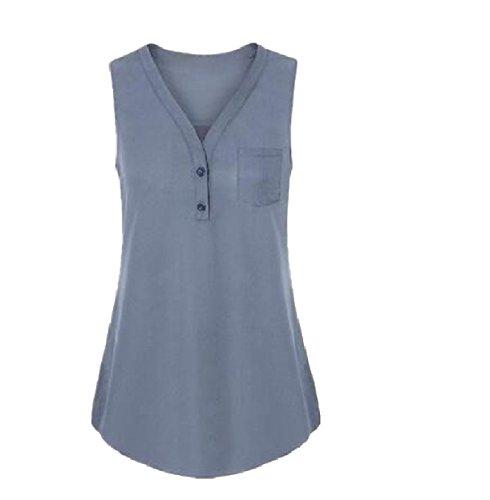 吸収剤自治石炭Tootess 女性の特大のベストvネックノースリーブの立体ブラウスシャツ