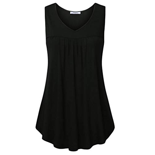- ANJUNIE Womens Summer Solid Sleeveless Tunic V Neck T Shirts Blouse Pleats A Line Tank Tops(Black,S)