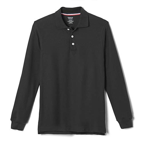 - French Toast Boys' Long-Sleeve Pique Polo Shirt, Black, Large/14-16 Husky