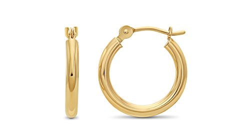 14k Yellow Gold 2mm Tube Polished Round Hoop Earrings, 14mm (0.55 inch Diameter) ()