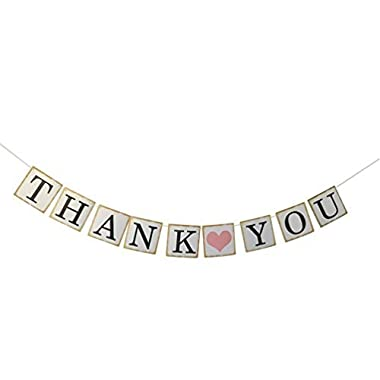 THANK YOU Wedding Bunting Banner Photo Booth Props Garland Anniversary Bridal Party Decoration (Gold ) by Partyprops