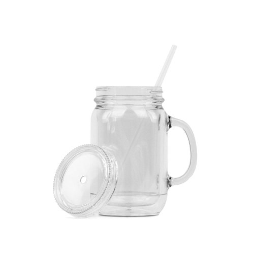 ns Acrylic Mason Jar Mugs - Double Wall - 18oz. Capacity - Clear ()