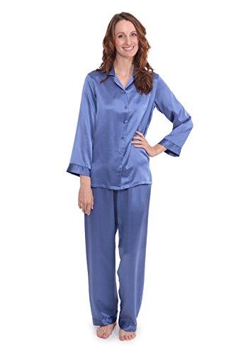 TexereSilk Women's 100% Silk Pajama Set - Luxury Sleepwear Pjs (Morning Dew, Kashmir Blue, 2X/Petite) Beautiful Gift Ideas for Anniversary Birthday ()