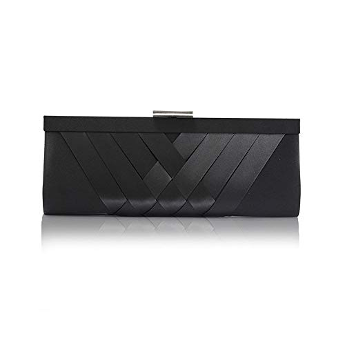 JBAG-one Womens Satin Evening Clutch Bag with Chain, Wedding Handbag, Design Shoulder Bag,Black