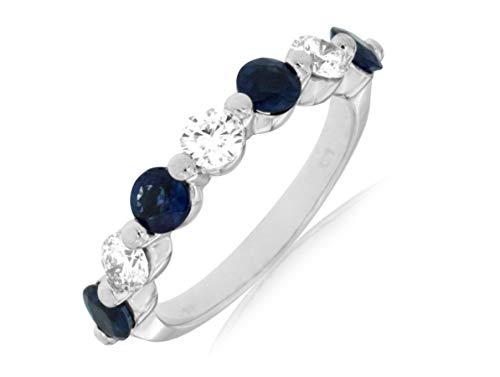 Milano Jewelers 1.75CT Diamond & AAA Sapphire 14KT White Gold 3D Shared Prong Anniversary Ring ()
