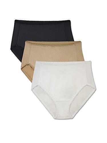 (Brilliance by Vanity Fair Women's 3-Pack Undershapers Light Control Hi-Cut Panty 48301, White/Honey Beige/Black, Large/7 )