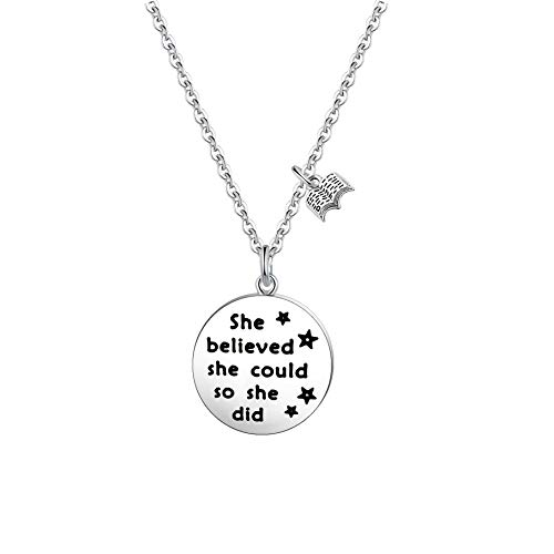 FUSTMW Book Lover Gift Reader Gifts She Believed She Could Necklace Writers Jewelry Bibliophile Gift Librarian Gift Bookworm Gift (Silver) (Literary Devices In The Gift Of The Magi)