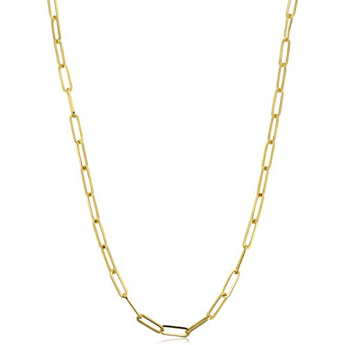 14k Yellow Gold 3mm Polished Paperclip Chain Necklace (24 inch) ()