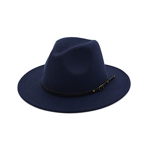 Navy Blue Felt Hat - Vim Tree Women's Classic Wide Brim Fedora Hat with Belt Buckle Felt Panama Hat Navy