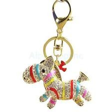 STUNNING COLORED CLEAR CRYSTAL HORSE / DONKEY KEYRING KEY...