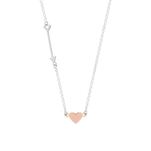 Boma Jewelry Sterling Silver Arrow & Rose Vermeil Heart Necklace, 16 inches ()
