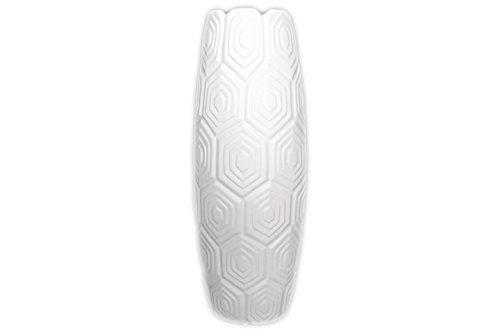 Urban Trends Ceramic Vase with Embossed Geometric Shapes Design, Large, Matte White
