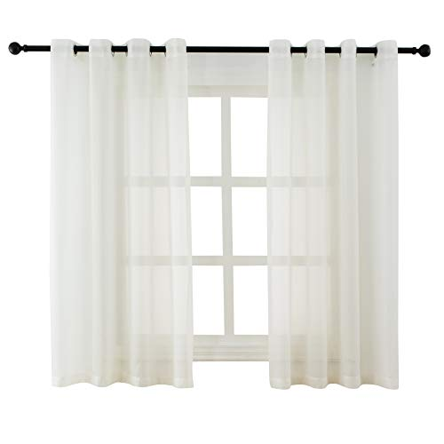 Bermino Sheer Curtains Voile Grommet Semi Sheer Curtains for Bedroom Living Room Set of 2 Curtain Panels 54 x 45 inch ()