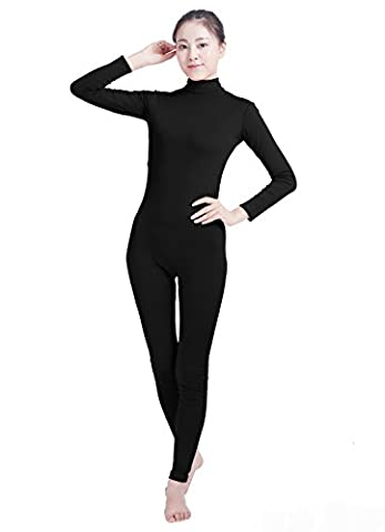 Ensnovo Womens Turtleneck Spandex Long Sleeve Footless Dancewear Unitard Black,XL - Lycra Turtleneck Dress