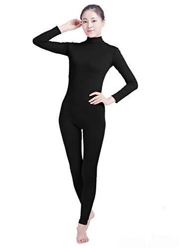 Ensnovo Womens Turtleneck Spandex Long Sleeve Footless Dancewear Unitard (Footless Long Sleeve)