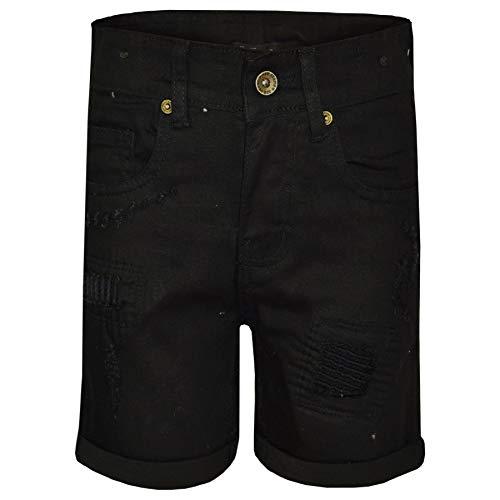 - A2Z Kids Boys Shorts Denim Ripped Jet Black Chino Bermuda Jeans Knee Length Pants