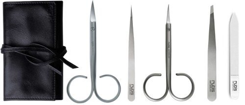 Rubis roll-up case, 5 parts, made from fine nappa leather, includes cuticle scissors, toenail scissors, hair tweezers slanted, splinter tweezers, glass nail file by Rubis