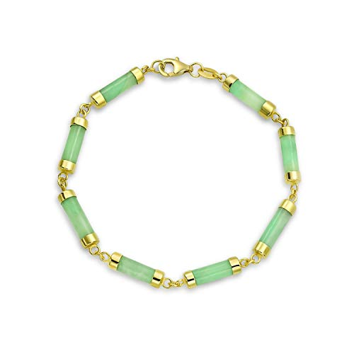 Asian Style Green Dyed Jade Bar Link Bracelet For Women 14K Gold Plated 925 Sterling ()