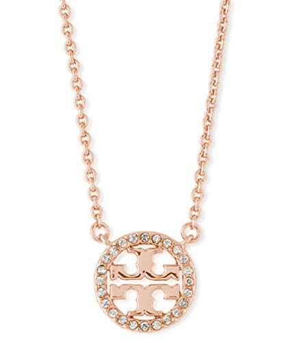 - Tory Burch Women's Delicate Crystal Circle Logo Necklace, 16