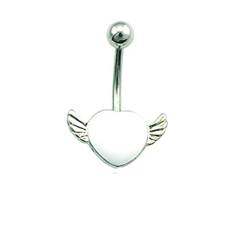 Flamingogogo DIY Belly Button Rings Fashion Stainless Steel 2 Style Enamel Heart with Wing Navel Rings Women Piercing Jewelry,White