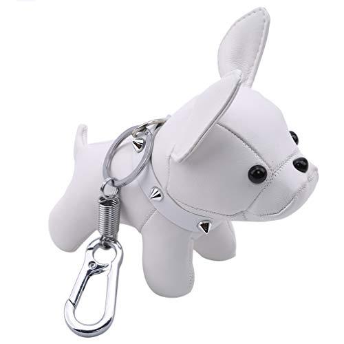 MOONQING Bulldog Keychain Cute Pet Animal Art Dog Car Multifunction Bag Pendant Creative Leather Key Charm Keyring,White