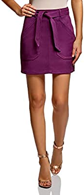 18H05011 oodji Ultra Womens Belted Faux Suede Skirt RIFICZECH s.r.o