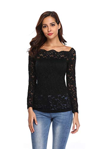 MISS MOLY Women's Lace Tops Off Shoulder Shirt Floral Sexy Long Sleeve Blouse-M Black
