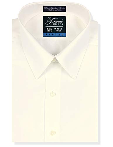 Luxe Microfiber Men's Fitted Point Collar Dress Shirt - Style Vince - Shirt Mens Ivory