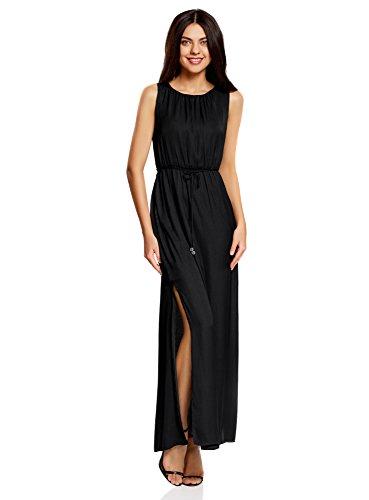 oodji Collection Mujer Vestido Largo de Tejido Fluido Negro (2900N)