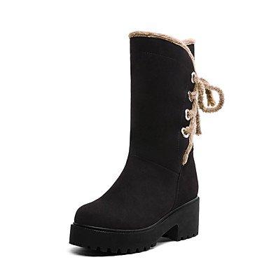 Invierno Noche 10 De Polipiel US9 8 Ronda CN42 Beige Zapatos 5 Vestido Mujer Toe 5 Botines Comodidad RTRY Botas Negro UK7 Por Amarillo Botines EU41 amp;Amp; De Parte BqftaI