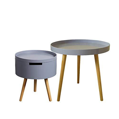 Amazon.com: TAESOUW-Home mesa auxiliar redonda con cesta de ...