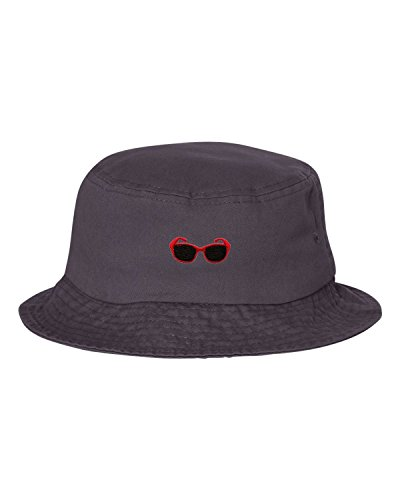 One Size Charcoal Adult Red Sunglasses Embroidered Bucket Cap Dad - Sunglasses Embroidered