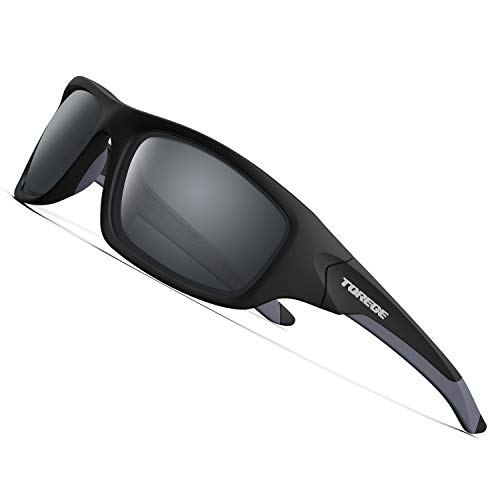 TOREGE Polarized Sports Sunglasses for Man Women Cycling Running Fishing Golf TR90 Unbreakable Frame TR011 -Upgrade (Matte Black&Grey)