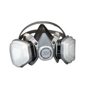 3M Large Black Thermoplastic Elastomer Half Mask 5000 Series P95 Disposable Dual Cartridge Air Purifying Respirator With 4 Point Harness (Dual Cartridge Series Respirator)