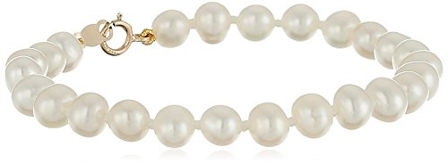14k Yellow Gold Baby Freshwater Cultured Pearl Bracelet (4.5 5 mm), 5""